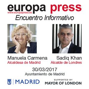 ENCUENTRO INFORMATIVO CON MANUELA CARMENA Y SADIQ KHAN, EL JUEVES 30 DE MARZO A LAS 9.00H EN EL AYUNTAMIENTO DE MADRID